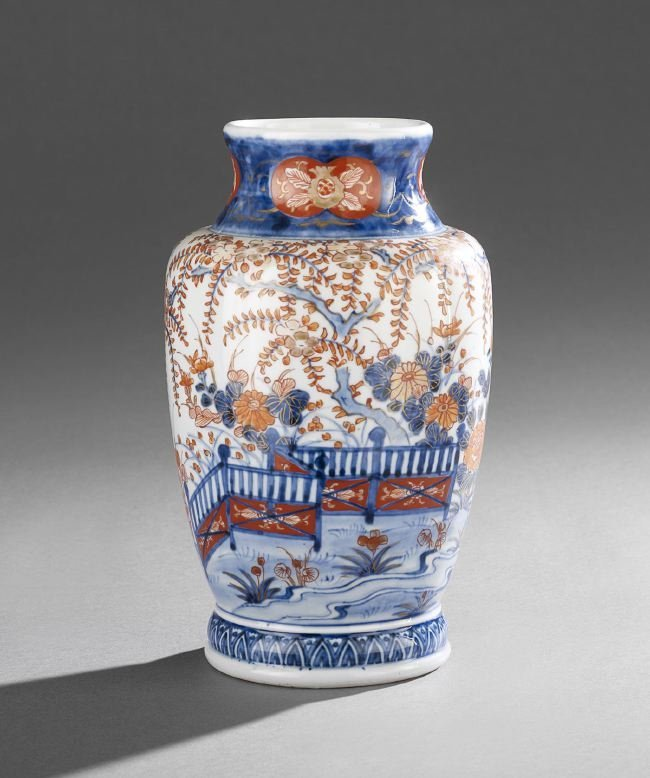 Japanese Imari Porcelain Baluster-Form Vase