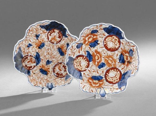 Pair of Japanese Imari Porcelain Leaf-Form Dishes