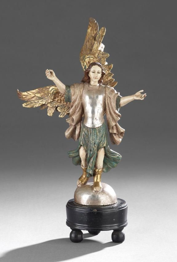 Santos-Style Carved, Painted and Gilded Angel