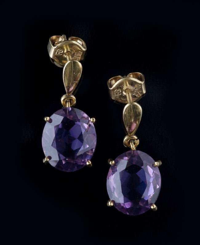 Pair of 14 Kt. Gold and Amethyst Dangle Earrings