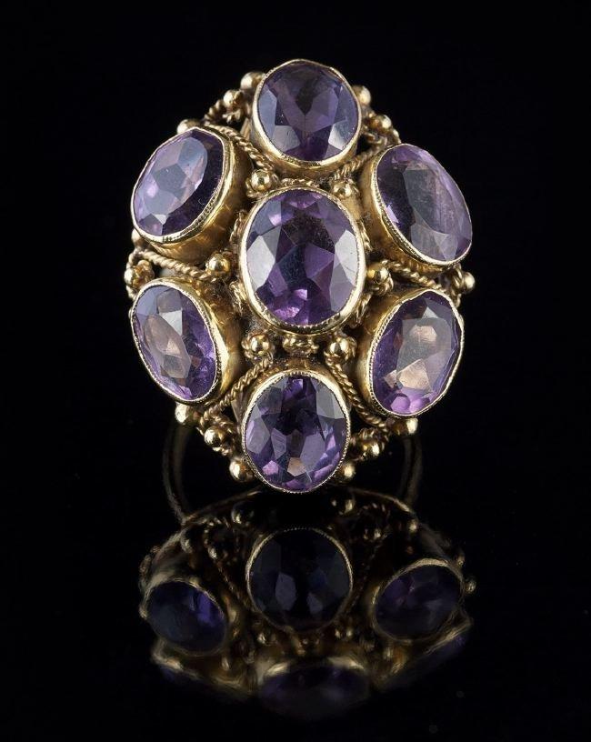 Fourteen-Karat Yellow Gold and Amethyst Ring