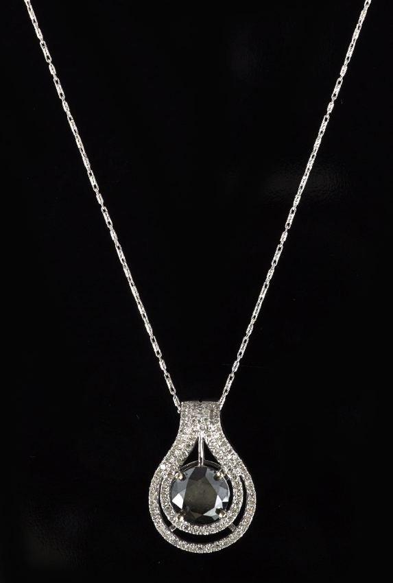 14 Kt. Gold, Black and White Diamond Pendant