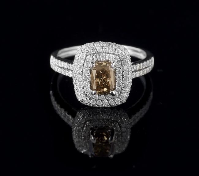 14 Kt. Gold and Fancy Light Brown Diamond Ring