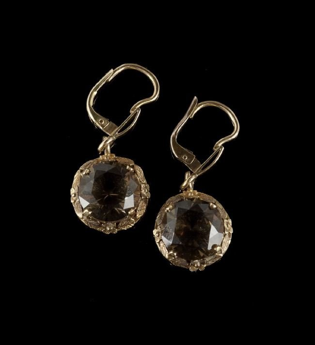 Pair of 10 Kt. Gold and Smoky Quartz Earrings