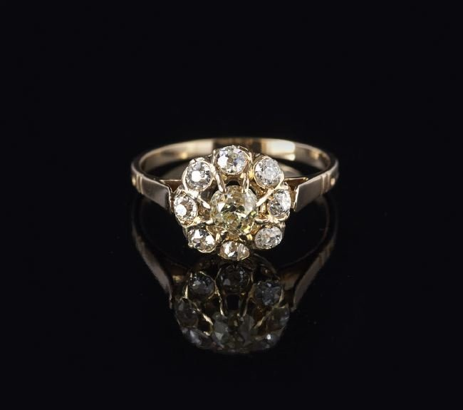 Antique 18 Kt. Yellow Gold and Diamond Ring