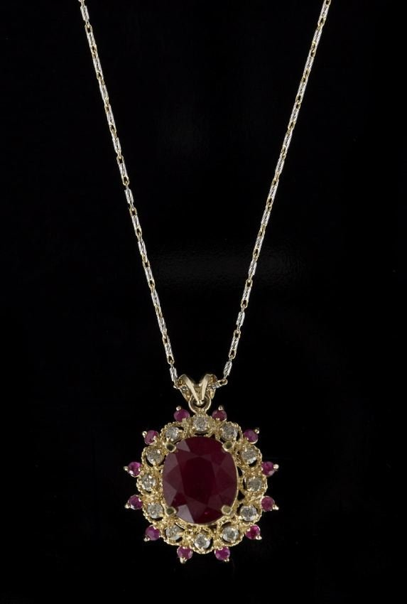 14 Kt. Gold, Ruby and Diamond Pendant with Chain