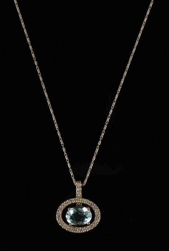 14 Kt. Gold, Aquamarine and Diamond Pendant