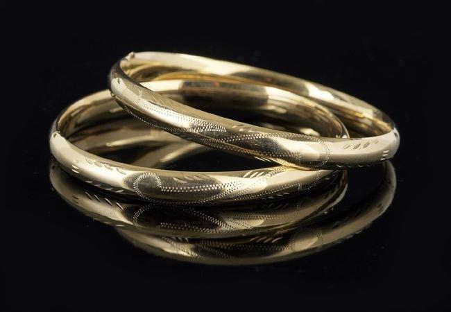Two Fourteen-Karat Yellow Gold Bangle Bracelets