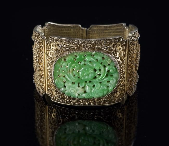 Chinese Jade and Silver Filigree Bracelet