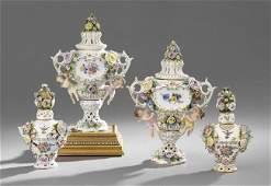 Two Pairs of Meissen-Style Garniture Urns