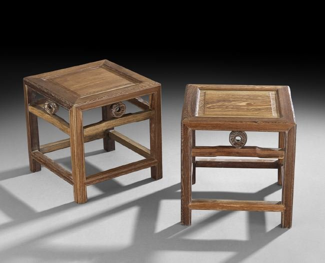 Pair of Chinese Teakwood Stands