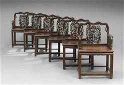Suite of Six Chinese Rosewood Armchairs