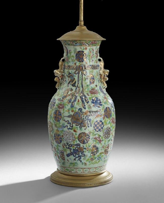 Chinese Rose Medallion Baluster Vase