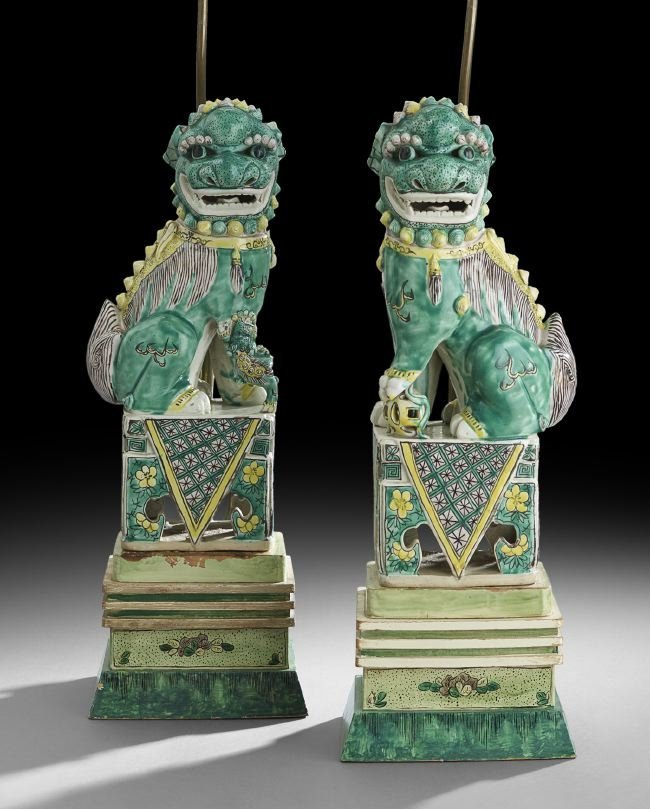 Pair of Chinese Pottery Seated Foo Dogs