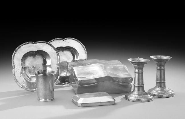 Seven-Piece Collection of Polished Pewter