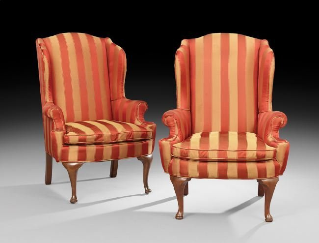 Pair of George II-Style Wing Chairs