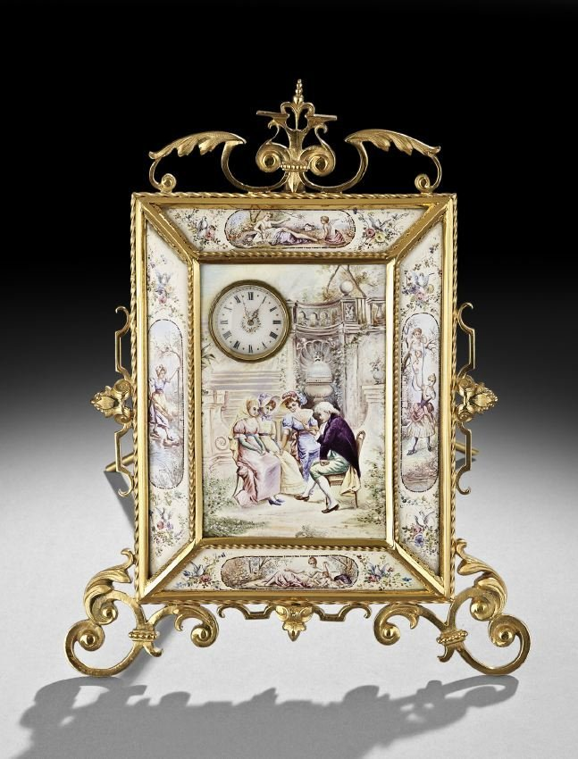 Enamel and Gilt-Bronze Boudoir Clock