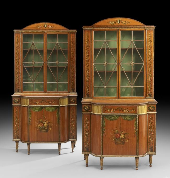 Pair of Edwardian-Style Satinwood Cabinets