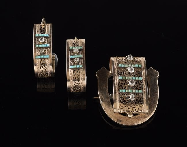 Victorian 14 Kt. and Turquoise Brooch & Earrings