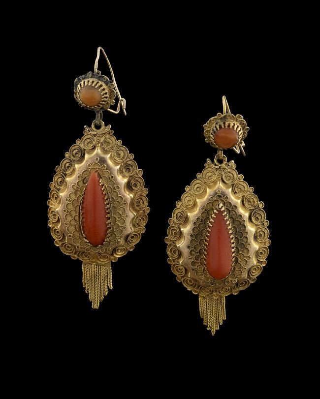 Pair of 14 Kt. Gold and Coral Earrings