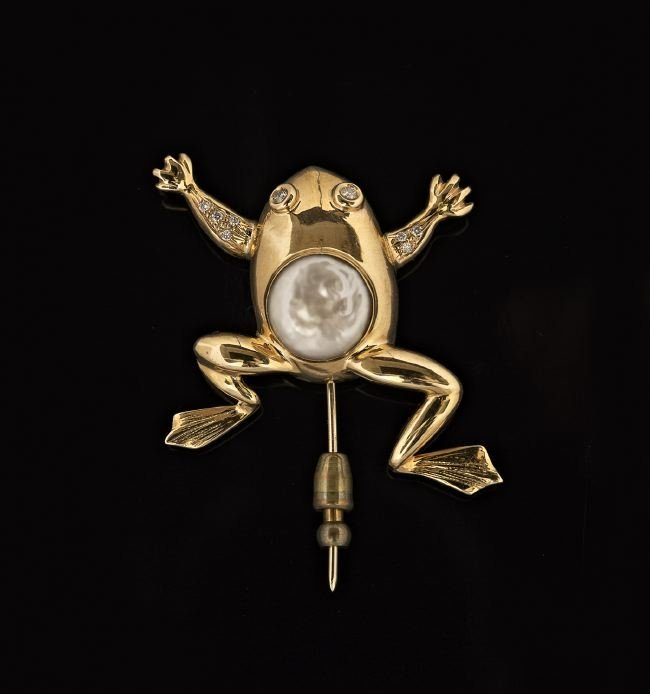 14 Kt. Gold, Diamond and Pearl Frog Stick Pin