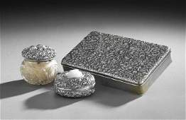 Three American Repousse Sterling Dresser Articles