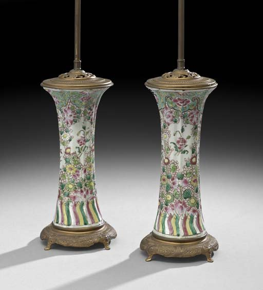 Pair of Chinese Export Garniture Vases