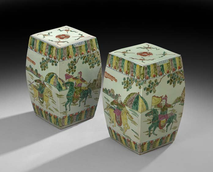 Pair of Chinese Celadon Porcelain Garden Seats