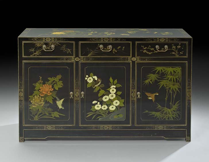 Chinese Black-Lacquered Sideboard Cabinet