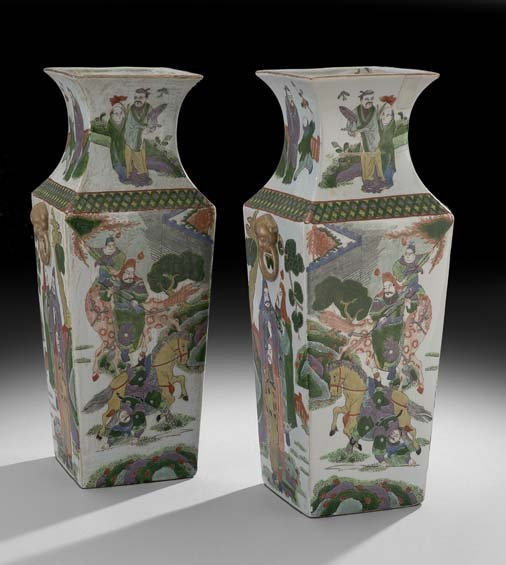 Pair of Chinese Porcelain Tapering Square Vases