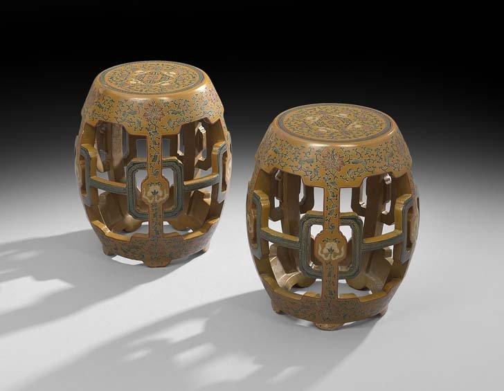Pair of Chinese Polychrome Tabourets