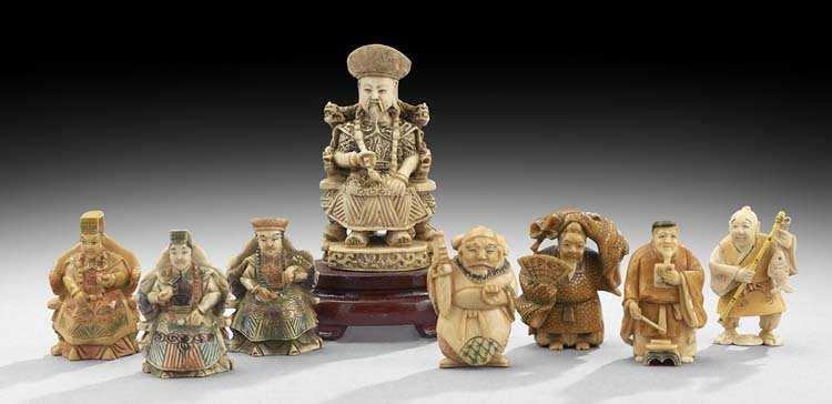 Group of Eight Ivory Carvings