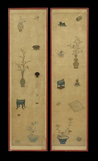 Pair of Chinese Silk Needlework Panels
