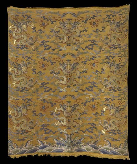 Chinese Embroidered Silk Dragon Panel