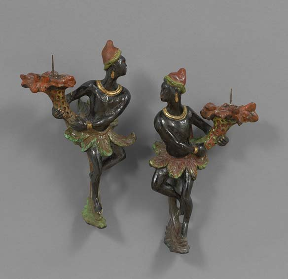 Pair of Carved and Painted Nubian Sconces
