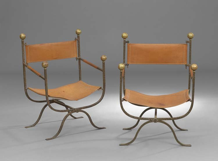 Pair of Spanish-Style Iron and Leather Armchairs
