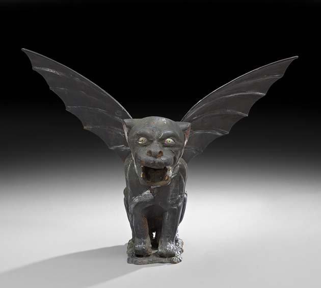Cast Iron Figure of a Menacing Winged Gargoyle