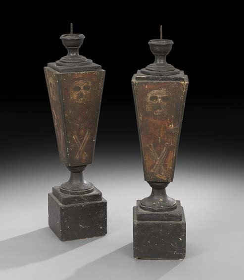 Pair of Painted Wooden Standing Pricket Sticks