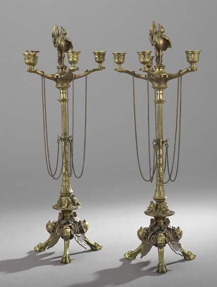 Pair of Renaissance Revival Bronze Candelabra