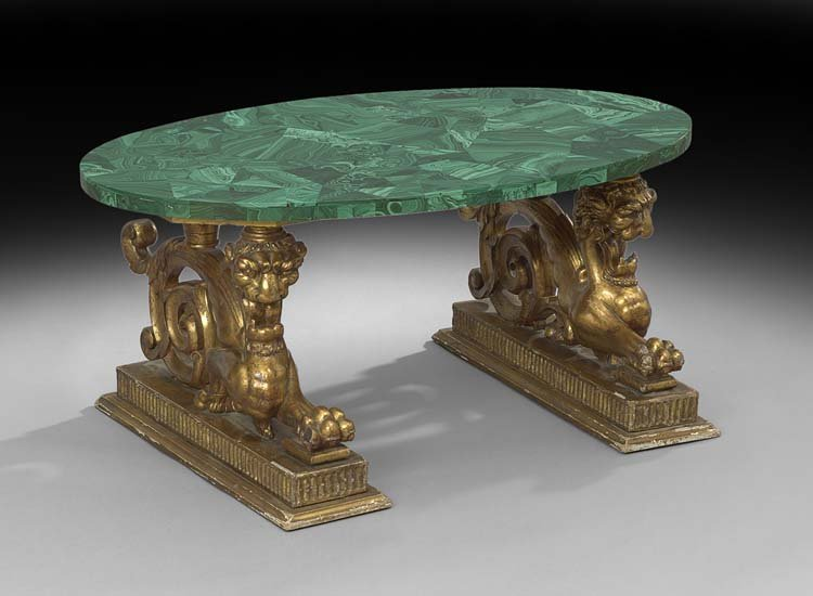 Continental Giltwood and Malachite Cocktail Table