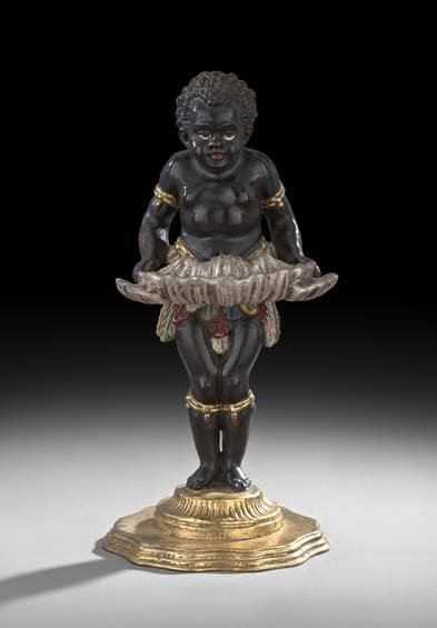 """Carved and Polychrome """"Blackamoor"""" Card Holder"""