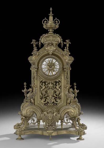 Monumental Tiffany-Retailed Bronze Mantel Clock