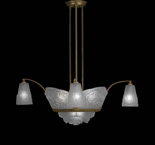 French Art Deco Molded Glass and Brass Chandelier