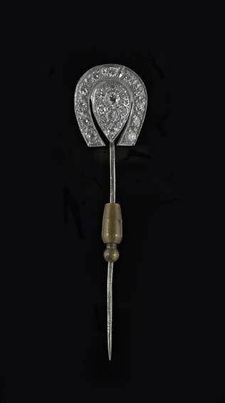 14 Kt. White Gold and Diamond Stick Pin