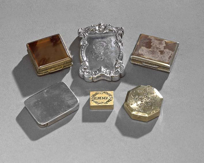 Six Assorted Gold and Silver Small Boxes