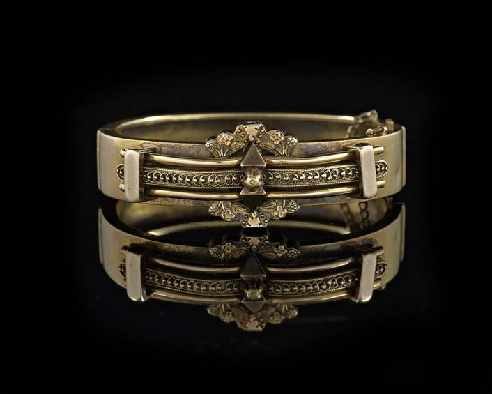 Victorian 14 Kt. Yellow Gold Hinged Bracelet