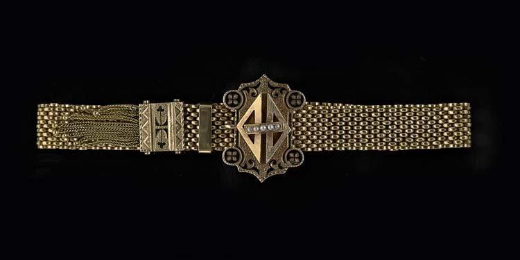 Victorian 14 Kt. Rose Gold and Pearl Bracelet