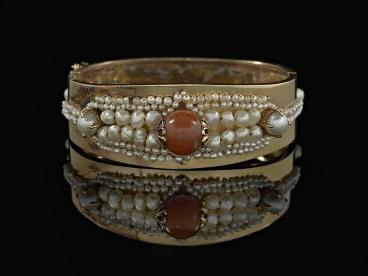 14 Kt. Yellow Gold, Coral and Pearl Bracelet