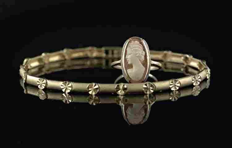 14 Kt. Gold Bracelet & a10 Kt. Gold Cameo Ring