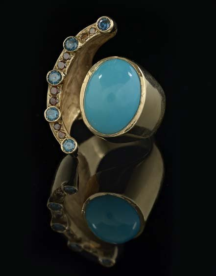 14 Kt. Gold, Colored Diamond and Turquoise Ring